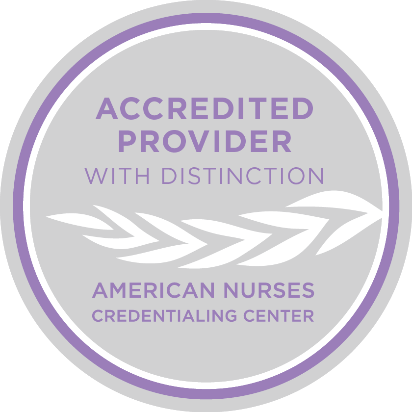 Badge from the American Nurses Credentialing Center showing that Ausmed is an accredited provider with distinction